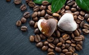 Картинка Конфеты, Листик, Кофейные зерна