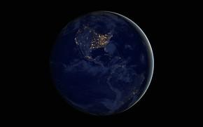 Картинка огни, планета, Земля, материк, Южная Америка, Северная Америка