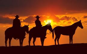 Картинка USA, sky, hat, cloud, sun, man, american, animal, horse, cowboy, kumo