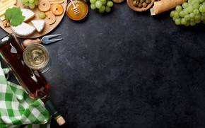 Картинка вино, яблоко, сыр, мед, виноград, доска