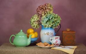 Картинка чай, чайник, печенье, натюрморт, лимоны, гортензия
