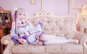 Картинка kawaii, girl, woman, neko, anime, cat, beautiful, pretty, cosplay, asian, Emilia, pose, manga, japanese, oriental, …