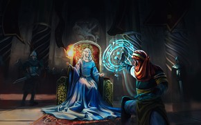 Картинка волшебство, женщина, воины, трон, The blue Queen