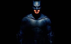 Обои Batman, Bruce Wayne, Лига справедливости, комикс, Justice League, Бен Аффлек, черный фон, Ben Affleck, маска, ...