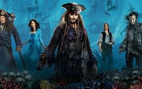 Обои море, Johnny Depp, корабли, дно, фэнтези, обезьяна, черепа, Джонни Депп, Пираты Карибского моря, постер, Jack ...