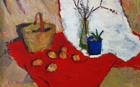 Картинка корзина, 2006, ваза, натюрморт, красная ткань, белая ткань, Пётр Петяев, синий горшок