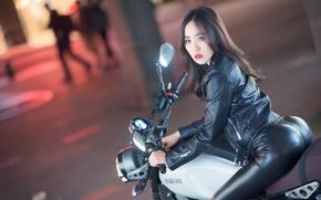 Картинка девушка, стиль, мотоцикл, азиатка