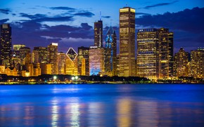 Картинка вода, озеро, здания, Чикаго, Иллинойс, ночной город, Chicago, Illinois, небоскрёбы, Lake Michigan, Озеро Мичиган