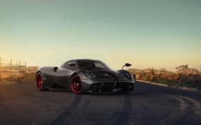 Картинка Pagani, Front, Sun, Grey, Supercar, Huayra