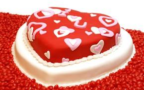 Картинка красный, сердце, конфеты, торт, сладкое, Valentine's Day, sweets