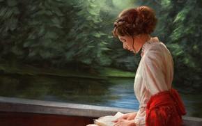 Картинка девушка, тишина, прическа, книга, речка, белое платье, art, на природе, шаль, чтение, Mandy Jurgens, еловый …