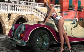 Картинка поза, женщина, фонарь, автомобиль, Classic Curves