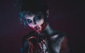 Обои лицо, девушка, ужас, кровь, страх, взгляд
