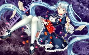 Картинка девушка, цветы, аниме, арт, Vocaloid