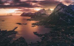 Картинка море, небо, свет, Норвегия, городок, деревушка, фьорды