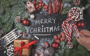 Картинка подарок, новый год, рождество, конфеты, кружка, орехи, new year, Christmas, шишки, декор, какао, зефир, gifts, …