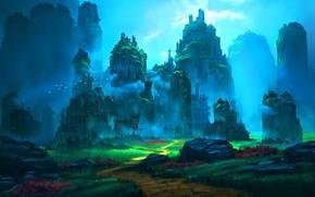 Картинка птицы, камни, скалы, дорожка, Emerald Ruins
