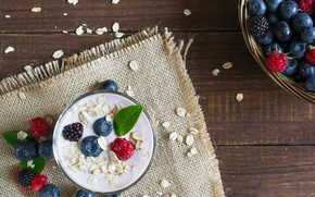 Картинка ягоды, малина, черника, еживика, йогурт