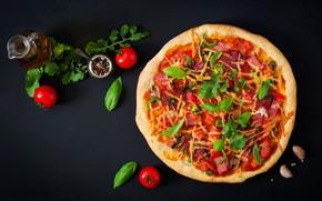 Картинка зелень, томат, пицца