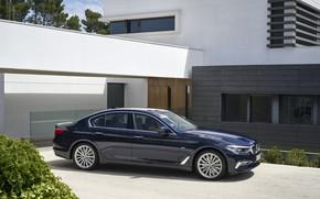 Картинка дом, растительность, BMW, стоянка, седан, xDrive, 530d, Luxury Line, 5er, тёмно-синий, четырёхдверный, 2017, 5-series, G30