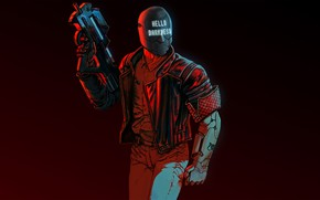 Картинка оружие, фон, арт, шлем, киберпанк, персонаж, шутер, 2017, RUINER