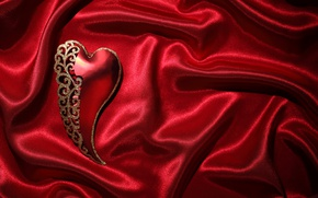 Картинка red, love, heart, romantic, silk, valentine`s day