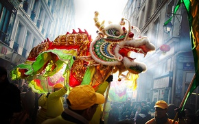Обои люди, улица, дракон, Китай, Китайский Новый Год