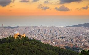 Картинка панорама, Испания, Барселона, вид с холмов Тибидабо, обсерватория Фабра