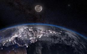 Картинка поверхность, огни, земля, луна, планета
