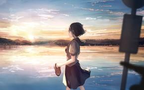 Картинка небо, девушка, закат
