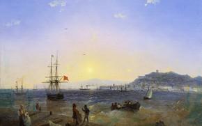 Обои картина, корабль, холст, масло, Иван Айвазовский, Керчь