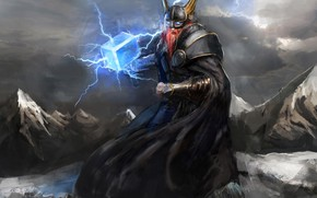 Картинка warhammer, power, Thor, viking, god, hammer, Mjölnir, Odin, Valhala