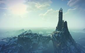 Картинка море, снег, замок, руины, the witcher 3