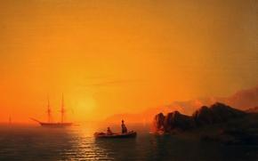 Картинка лодка, парусник, штиль, Айвазовский Иван, живопись маслом, картина painting, море - sea