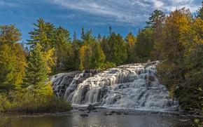 Картинка осень, лес, деревья, река, водопад, Мичиган, каскад, Michigan, Bond Falls, Ontonagon River, Upper Peninsula, Река …