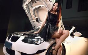 Картинка взгляд, Девушки, BMW, азиатка, красивая девушка, оперлась на машину, белый авто
