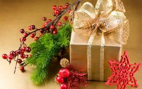 Картинка ягоды, подарок, новый год, бант, снежинка