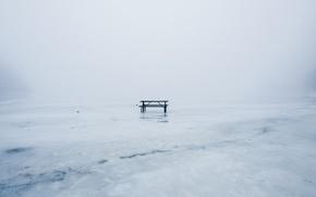 Обои зима, лёд, скамья