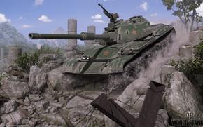 Картинка звезда, танк, руины, World of Tanks, 121 Chinese medium tank