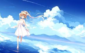 Картинка облака, природа, аниме, арт, kamio misuzu, деочка, Аir