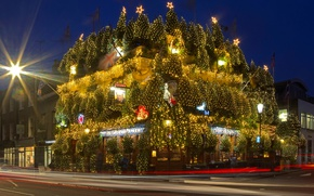 Картинка огни, праздник, Англия, Лондон, Новый Год, Рождество, Ноттинг-Хилл