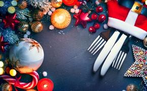 Картинка звезды, украшения, праздник, ель, нож, вилка, конфета
