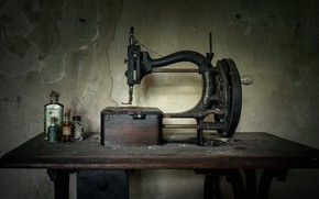 Картинка пыль, старая, швейная машинка