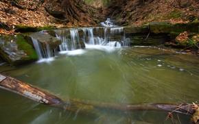 Картинка осень, лес, озеро, скалы, водопад