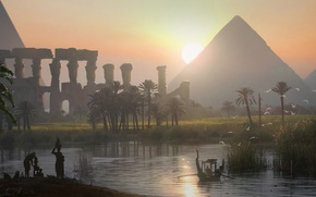 Обои арт, вечер, пирамида, Assassin's Creed Origins, египет