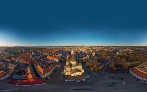 Картинка море, небо, город, рассвет, побережье, дома, Эстония, Таллин, церковь, панорама