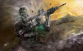 Картинка взрыв, осколки, оружие, экипировка, Codename JULIET