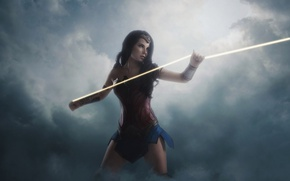Обои cinema, film, strong, Diana, cosplay, Themyscira, brunette, gauntlet, armor, movie, Wonder Woman, Lasso of Truth, ...