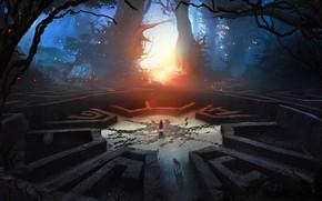 Картинка светлячки, сказка, чаща, лабиринт, лучи света, Красная Шапочка, в центре, темный лес, Серый Волк