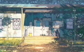 Картинка растительность, доска, строение, Everlasting Summer, Summer camp